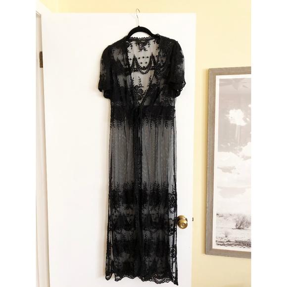 cd5e4c7e0a2 Aqua Other - AQUA Black Lace Kimono Robe